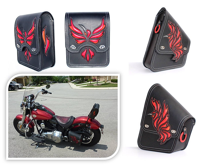 Custom swing-arm bag and sissy bar bag for Harley-Davidson Softail Slim