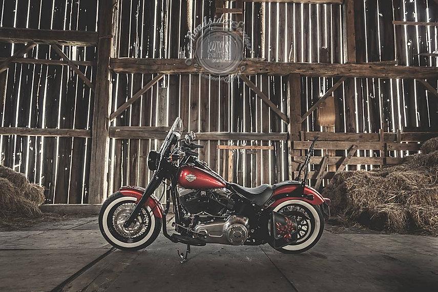 Custom swing-arm bag and sissy bar bag for Harley-Davidson Softail Slim