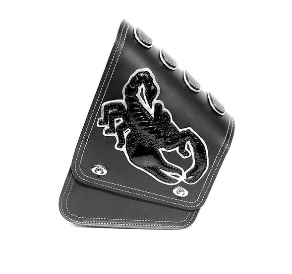 Custom Motorcycle Swingarm Leather Bag with Black Scorpio