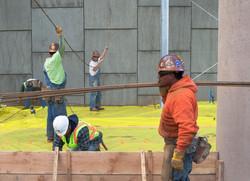Crew Lays Rebar for Cement Floor