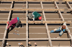 Workers Pour Lower Deck Cement