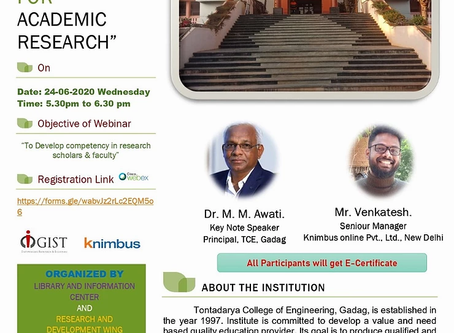 """WEBINAR - """"Scholarly resources and tools for Academic Research"""" Date and Time: 24 June 2020 5.30 PM"""
