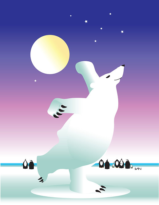 Dancing Polar Bear - Purple Sky - 11x14inch Frame