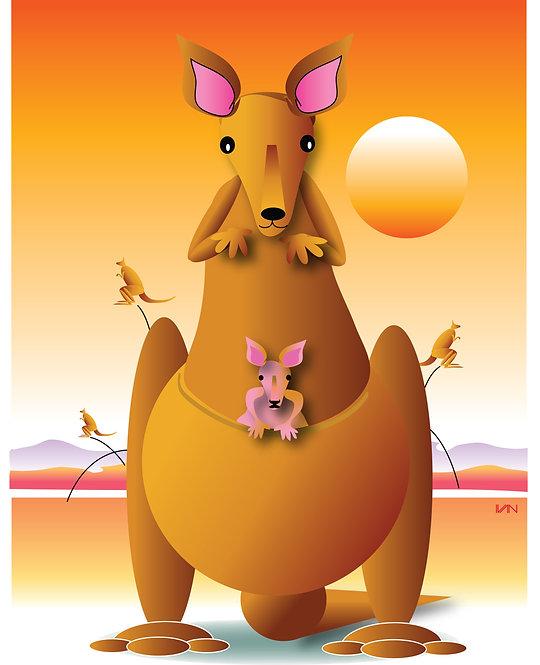 Kangaroo and Baby - 11x14inch Frame