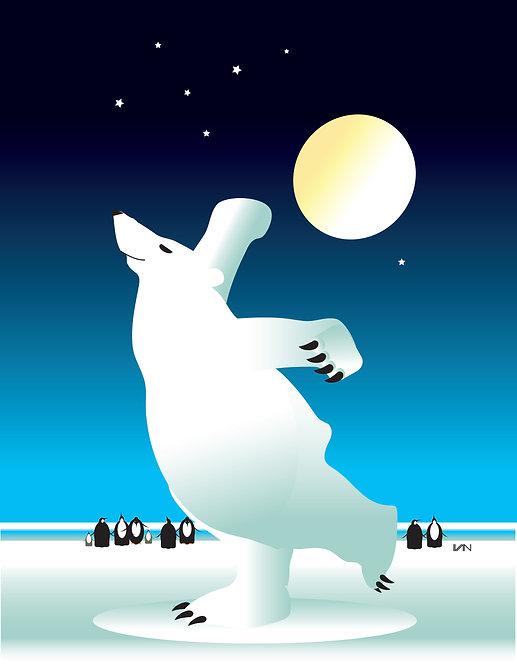 Dancing Polar Bear - Nighttime - 11x14inch Frame