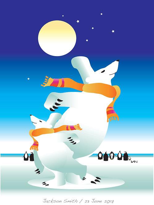 Dancing Polar Bears - Blue Sky - 11x14inch Frame