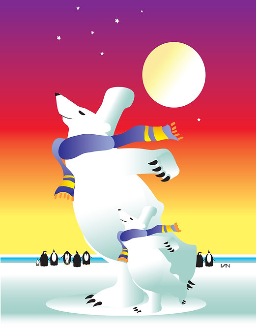 Dancing Polar Bears - Vibrant Sunset - 11x14inch Frame