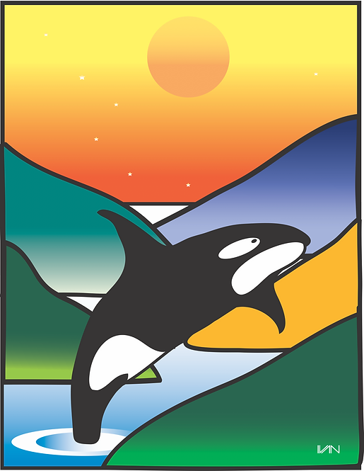 Orca at Sunset - 11x14inch Frame