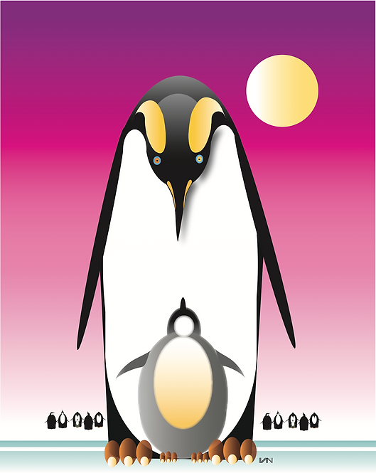 Penguin and Baby - Pink - 11x14inch Frame