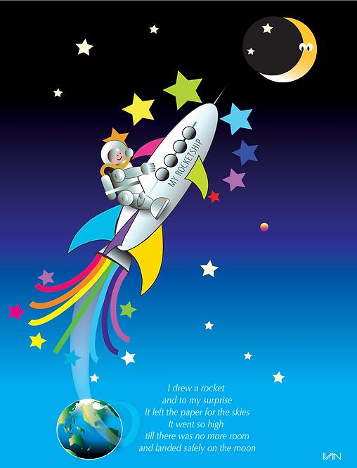 Rocketship Poem - 11x14inch Frame