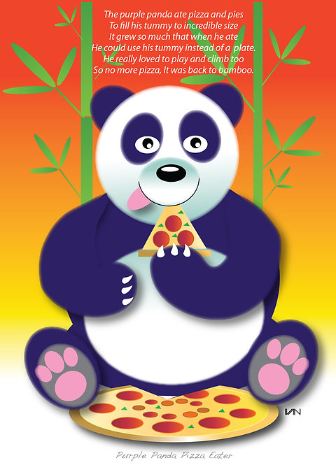 Purple Pizza-Eating Panda - 11x14inch Frame