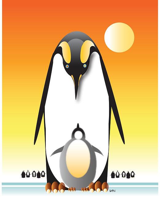Penguin and Baby - Sunshine Orange - 11x14inch Frame