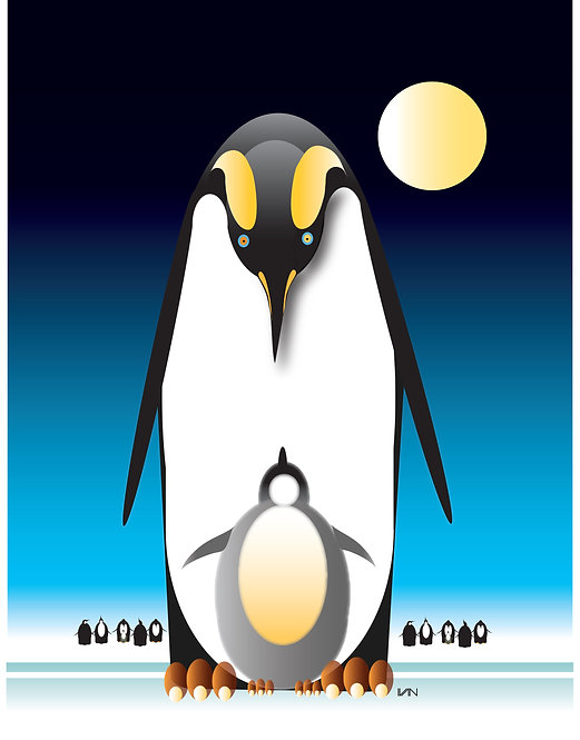 Penguin and Baby - Night Blue - 11x14inch Frame