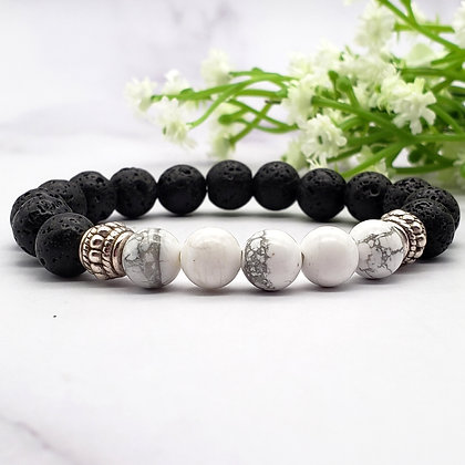 White Howlite and Lava Stone Chakra Bracelet