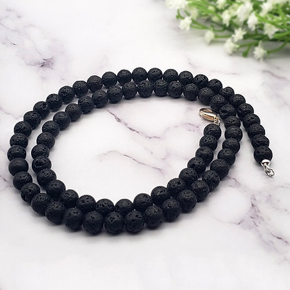 Black Lava Stone Diffuser Necklace 6mm 8mm