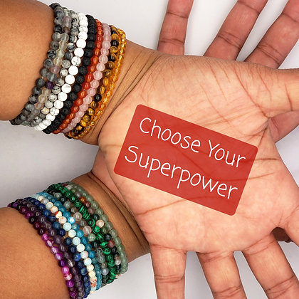 4mm Power Mini Gemstone Bracelets - Various Gemstones and Intentions