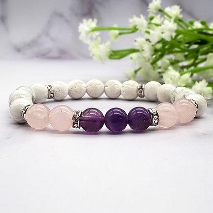 Rose Quartz & Amethyst Healing Crystals Bracelet