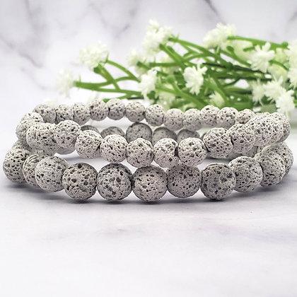 6mm 8mm Gray Lava Stone Diffuser Bracelet