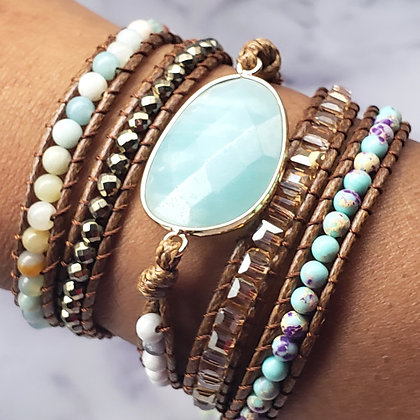 Blue Amazonite Jasper Leather Multi Wrap Bracelet