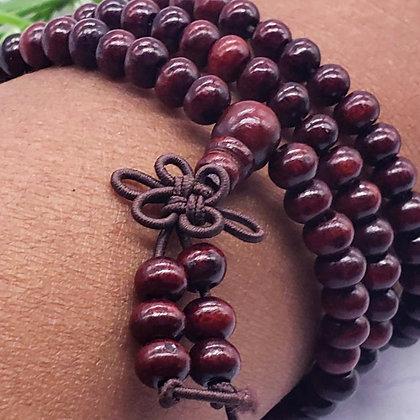 108 Sandalwood Mala Bracelet - Red