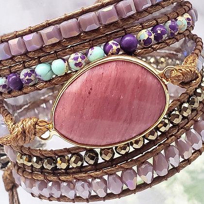 Rhodochrosite Jasper Leather Multi Wrap Bracelet