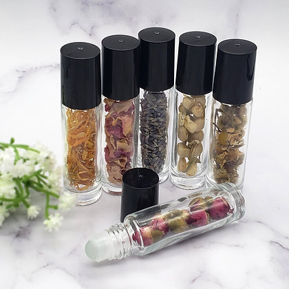 10ml Flower and Glass Essential Oil Roll On Bottle