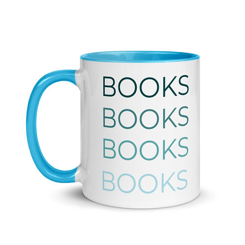 BOOKS Blue & White Mug