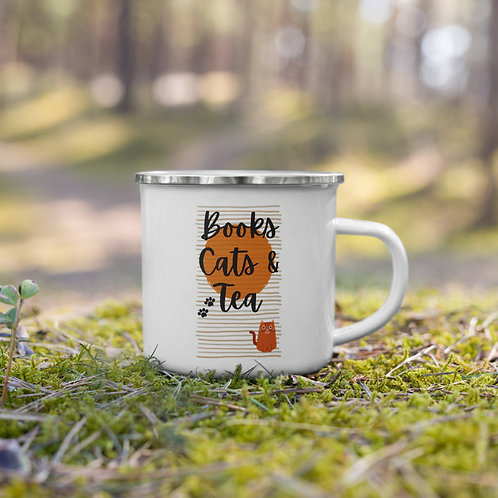 Books, Cats & Tea Enamel Mug