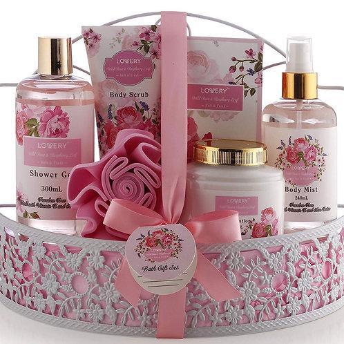 Spa Gift Basket - Wild Rose & Raspberry Leaf Scent - Luxury 7 Piece Bath & Body