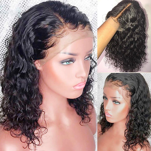 Curly Lace Front Human Hair Wigs With Baby Hair 13 x 6 8 inches glueless
