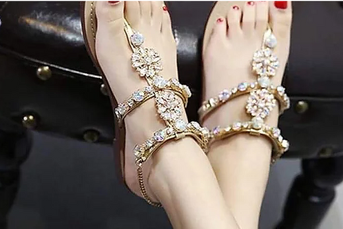 Eilyken 2019 leisure women flat sandal Slippers Shoes Rhine stones Crystal Chain