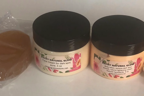 Kathy natural glow set 4oz body cream ,4oz face cream, 1 soap