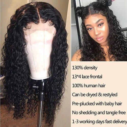 20 inches human hair Lace front Wigs Deep Wave Lace Front Wigs