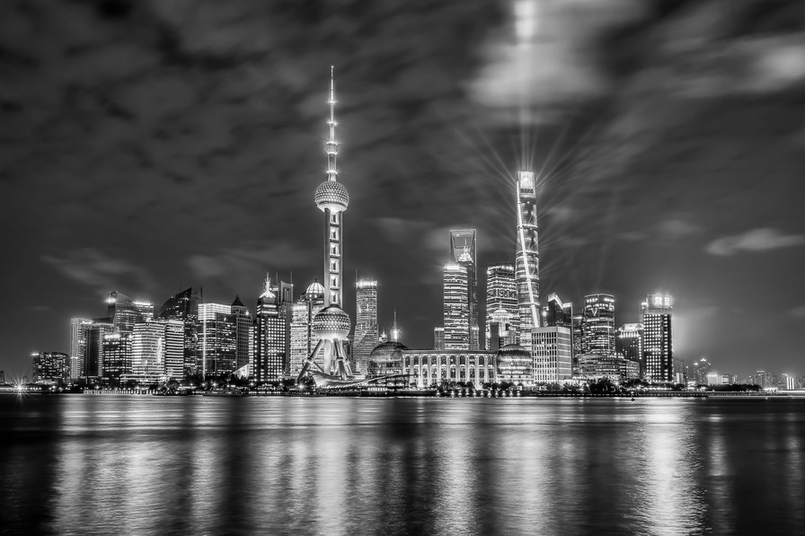 Pudong on a clear night-BW-DSC_1698