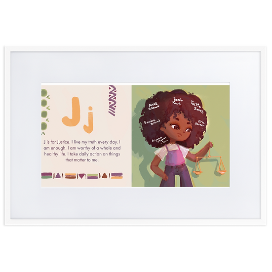 J is for Justice Print on Matte Paper Framed