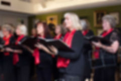The choir concentrates during a performance