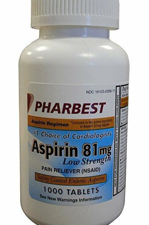 Aspirin 81 mg 1000 Tablets