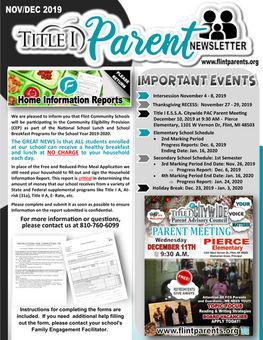 Flint Community Schools Title I Parent Newsletter Image