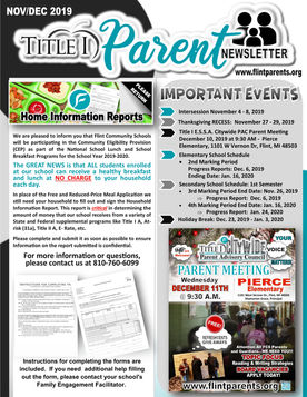 Flint Community Schools Title I Parent Newsletter Image