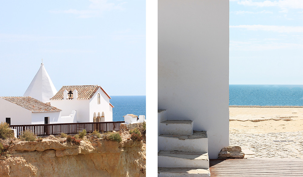 White chapel set on top of cliffs by the Atlantic ocean in Porches, Algarve