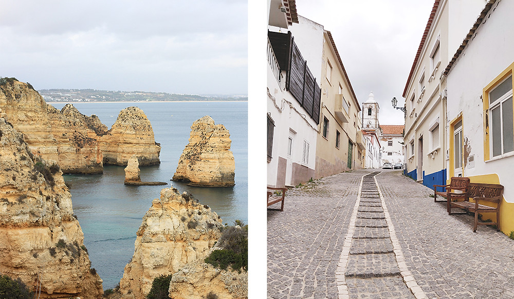 Cliffs at Ponta da Piedade and street in Lagos, Algarve