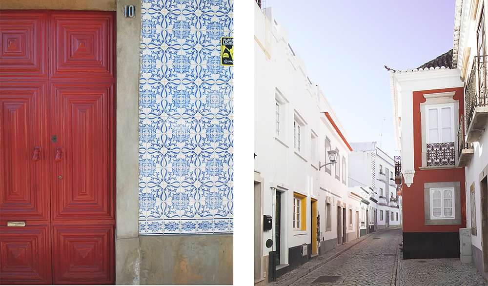 Door from the moorish times and cute streets in old town Tavira