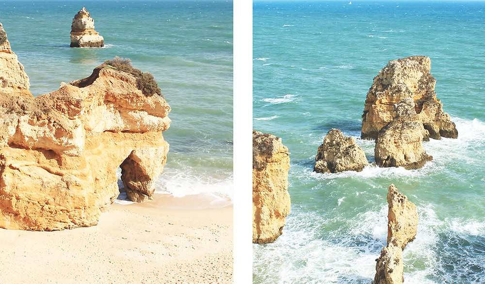 Sand beaches with limestone cliffs and clear blue water in Lagos, Algarve