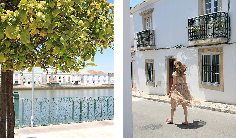 view of the river in Tavira, girl walking down the street