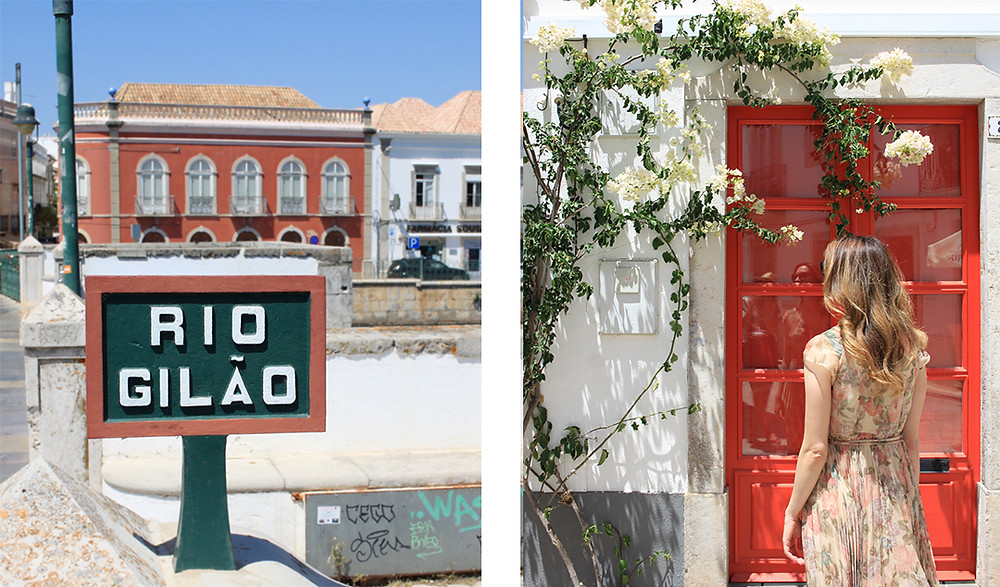 sign that says rio gilao tavira, girl in front of red door