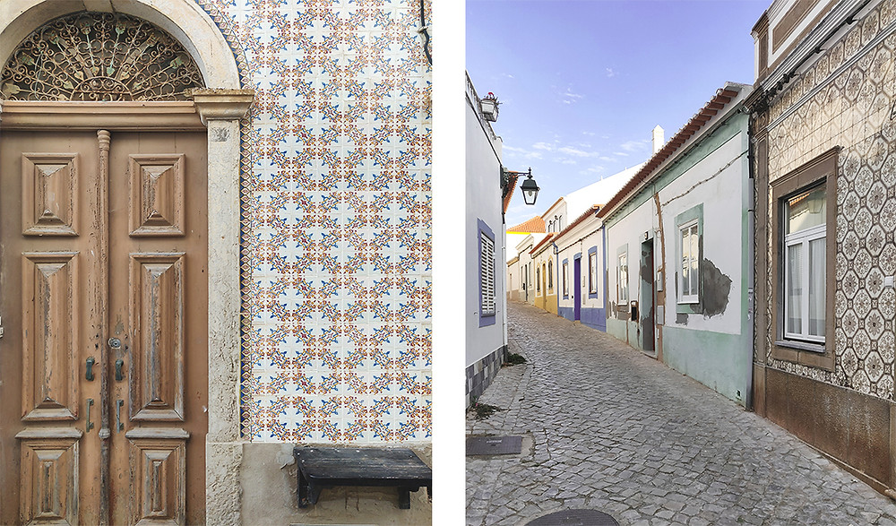 Traditional houses with Portuguese tiles in Ferragudo, Algarve