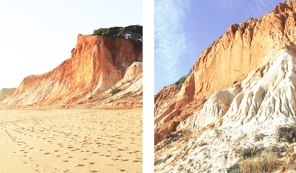 White and red sand cliffs at Praia Falesia, Algarve