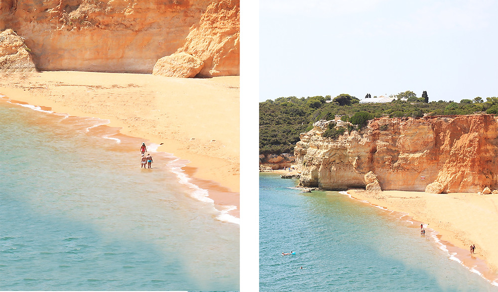 Praia Nova beach, set by beautiful cliffs with a view on the chapel of Nossa Senhora da Rocha in the Algarve.