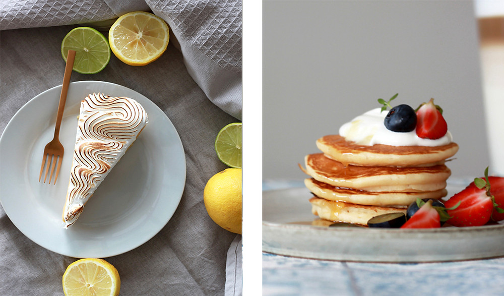 a lemon pie and stack of pancakes with berries