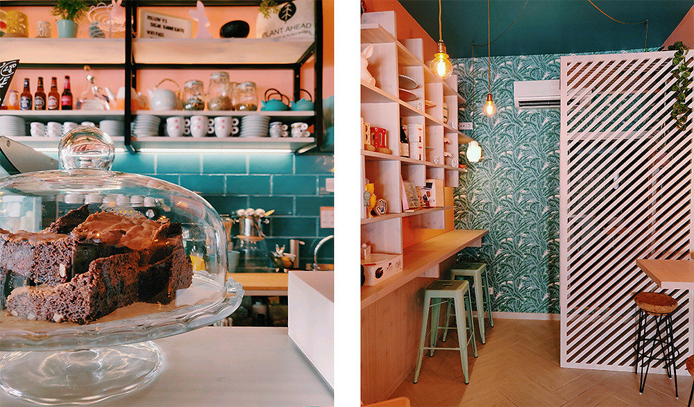 a cute café with pink and green colors serving brownies